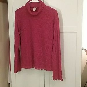 J Jill long sleeved Red Embroidered textured sz L